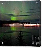 Stars And Northern Lights Over Dark Road At Lake Acrylic Print