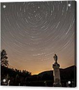 Stars Trails Over Cemetery Acrylic Print