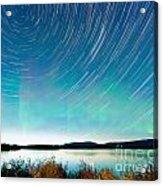 Startrails Aurora Borealis Display Lake Laberge Acrylic Print