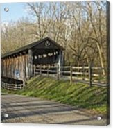 State Line Or Bebb Park Covered Bridge Acrylic Print by Jack R Perry