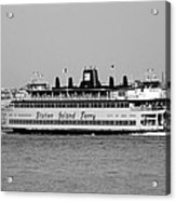 Staten Island Ferry In Black And White Acrylic Print