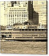 Staten Island Ferry In Sepia Acrylic Print