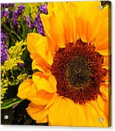 Statice And Sunflower Acrylic Print