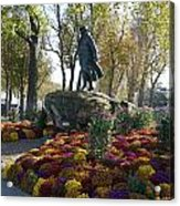 Statue And Flower Bed Across The Street From The Grand Palais Off Of Champs Elysees Acrylic Print