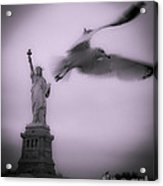 Statue And Seagull  Acrylic Print