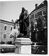 statue of francis bacon in front of grays inn hall London England UK Acrylic Print