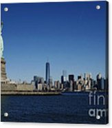Statue Of Liberty And Manhattan Acrylic Print