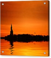 Statue Of Liberty At Sunset Acrylic Print by John Farnan
