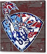 Statue Of Liberty On Stars And Stripes Flag Wood Background Recycled Vintage License Plate Art Acrylic Print