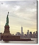 Statue Of Liberty With Manhattan Acrylic Print
