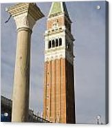 Statue Of Lion Of St. Mark And The San Marco Bell Tower Acrylic Print