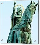 Statue Of Saint Stephen I - The First King Of Hungary In Budapes Acrylic Print