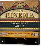 Steam Boat Willie Signage Main Street Disneyland 02 Acrylic Print