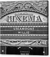 Steam Boat Willie Signage Main Street Disneyland Bw Acrylic Print