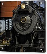 Steam Engine #475 Pulling Into The Strasburg Rr Station  01 Acrylic Print by Mark Serfass