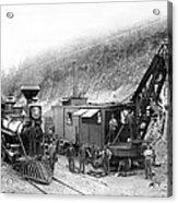 Steam Locomotive And Steam Shovel 1882 Acrylic Print by Daniel Hagerman