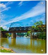 Steam Locomotive Crossing Bridge Acrylic Print