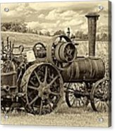 Steam Powered Tractor Sepia Acrylic Print