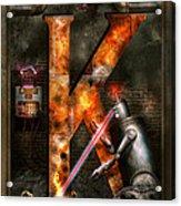 Steampunk - Alphabet - K Is For Killer Robots Acrylic Print
