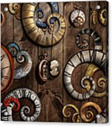 Steampunk - Clock - Time Machine Acrylic Print by Mike Savad