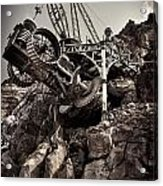 Steampunk Land Boring Machine At Disneysea Black And White Acrylic Print