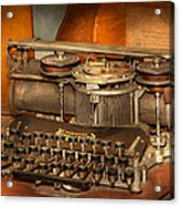 Steampunk - The History Of Typing Acrylic Print by Mike Savad
