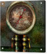 Steampunk - Train - Brake Cylinder Pressure  Acrylic Print by Mike Savad