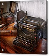 Steampunk - Typewriter - The Secret Messenger  Acrylic Print by Mike Savad
