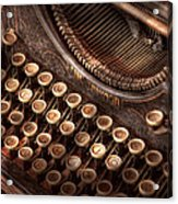 Steampunk - Typewriter - Too Tuckered To Type Acrylic Print by Mike Savad