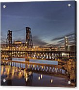 Steel Bridge Over Willamette River At Blue Hour Acrylic Print