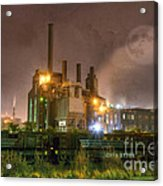 Steel Mill At Night Acrylic Print