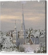 Steeples In The Snow Acrylic Print