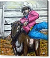 Steer Wrestling Original For Sale Acrylic Print