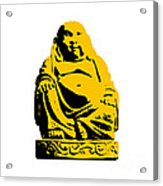 Stencil Buddha Yellow Acrylic Print by Pixel Chimp