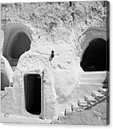 steps from the courtyard up to the entrance of the caves at the Sidi Driss Hotel underground at Matmata Tunisia scene of Star Wars films Acrylic Print
