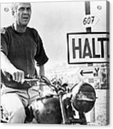 Steve Mcqueen On Motorcycle Acrylic Print by Retro Images Archive
