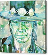 Stevie Ray Vaughan- Watercolor Portrait Acrylic Print