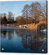 Still And Early - Icy Reflections With A Touch Of Snow Acrylic Print