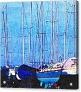 Still In Storage North Muskegon Marina  Acrylic Print by Rosemarie E Seppala
