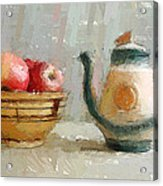 Still Life Apples And Tea Pot Acrylic Print by Yury Malkov