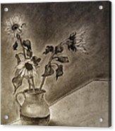 Still Life Ceramic Pitcher With Three Sunflowers Acrylic Print