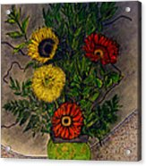 Still Life Ceramic Vase With Two Gerbera Daisy And Two Sunflowers Acrylic Print