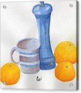 Still Life - Cup With Pepperpot And Oranges Acrylic Print by Bav Patel