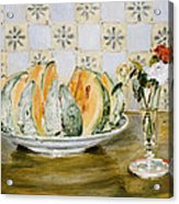 Still Life Of A Melon And A Vase Of Flowers Acrylic Print