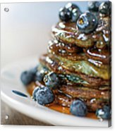 Still Life Of Blueberry Pancakes With Acrylic Print
