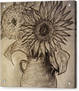 Still Life Two Sunflowers In A Clay Vase Acrylic Print