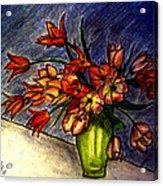 Still Life Vase With 21 Orange Tulips Acrylic Print