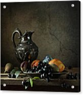 Still Life With A Jug And Fruit Acrylic Print by Diana Amelina