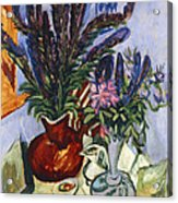 Still Life With A Vase Of Flowers Acrylic Print by Ernst Ludwig Kirchner