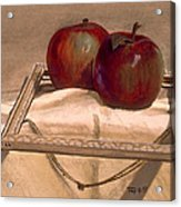 Still Life With Apples In An Old Frame Acrylic Print
